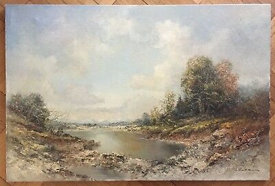 Lovely Vintage  Original Landscape Oil Painting On Canvas By 'wilhelm' Signed