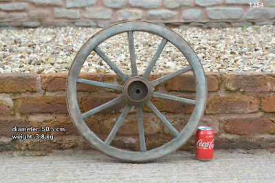 Vintage old wooden cart wagon wheel  / 50.5 cm /  3.8 kg- FREE DELIVERY