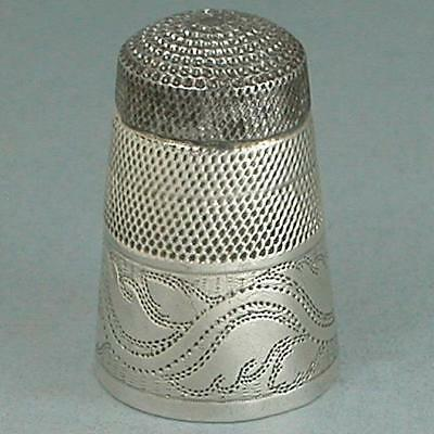 Antique Steel Top Sterling Silver Thimble *  English * Circa 1820