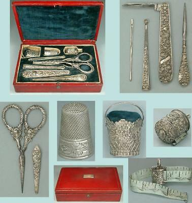 Antique Cased English Sterling Silver Sewing Set by Jos Taylor * Circa 1830-40