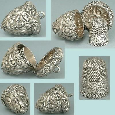 Ornate Antique Sterling Silver Acorn Chatelaine Case w/ Thimble * Circa 1900