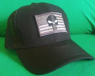USA Punisher Flag Hat Structured Pigment-Dyed Cotton Distressed Mesh Ball Cap