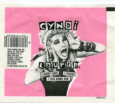 CYNDI LAUPER 1985 Trading Card set Wrapper!!! Topps - Variety 1