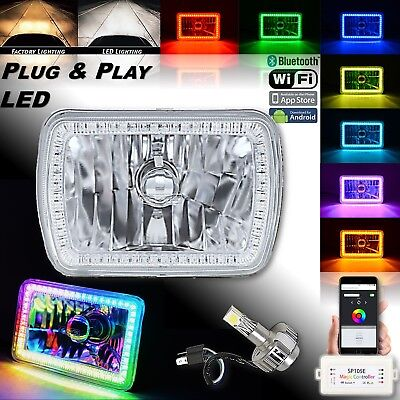 "(1) 7x6"" Bluetooth RGB SMD Color Chasing Halo Headlight w/ H4 360° LED Bulb EACH"