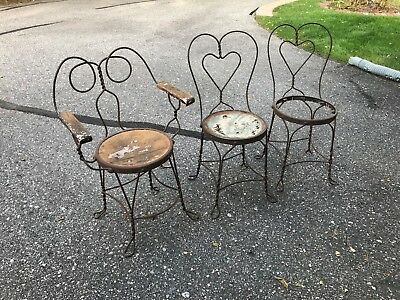 Antique Ice Cream Parlor Wrought Iron Heart Chairs