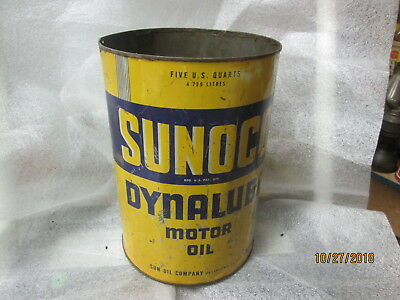 Early Original Sunoco Dynalube Motor Oil Five Quart Metal Can