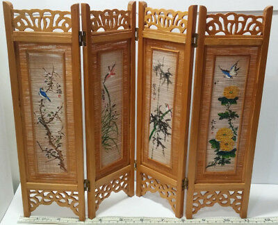 Miniature Hand Carved Bamboo Chinese Folding Screen Hand Painted Woven Panels