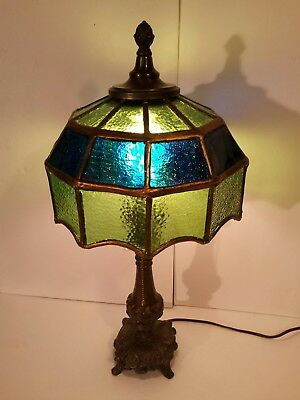 Stained Glass & RARE Antique Cast Brass Bronze Heavy Acorn Pull Table Lamp Adore