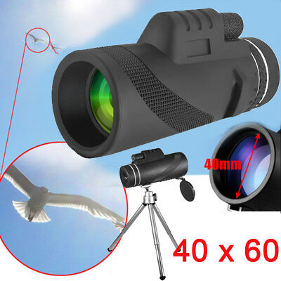 High Power 40X60 HD Monocular Telescope BAK4 Prism Outdoor with Tripod & Clip US