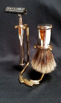 Vintage Chrome & Brass Shaving Badger Brush and Trac II Razor with Stand