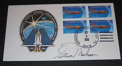 STS 115 Steve MacLean signed Crew Patch Flight Cover