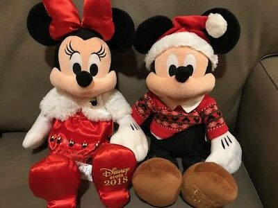 DISNEY Mickey Mouse & Minnie Plush Limited Ed. 2018 Christmas ~ NEW ~ Ships Fast