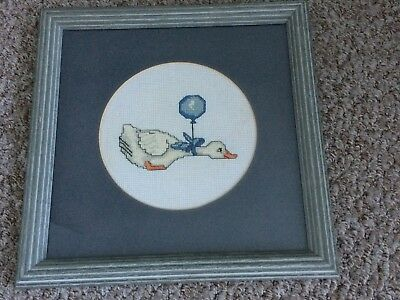 Completed & Framed Cross Stitch Piece of Flying Duck
