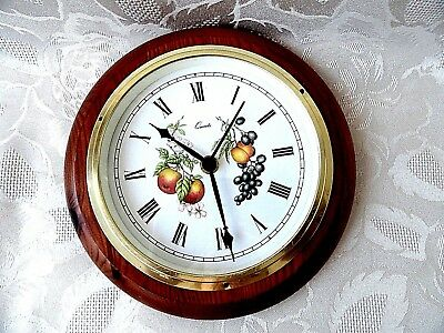 Vintage Wooden Frame  Wall Clock QUARTZ D - 21.5 cm
