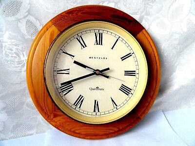 Old Wooden Frame  School/Office wall clock WESTCLOX QUARTZMATIC SCOTLAND D-30cm