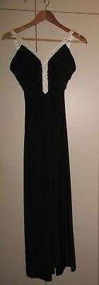 1930s STYLE BLACK JERSEY  DRESS SIZE SMALL GOOD CONDITION