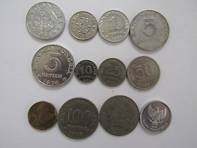 Lot of 12 Different Indonesia Coins - 1955 to 2004 - Circulated & Uncirculated