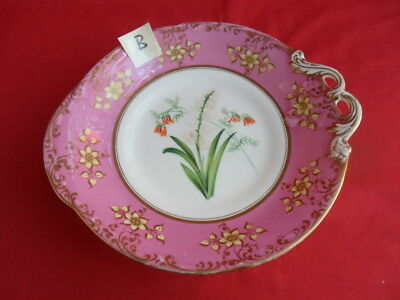 Antique (c19th Century) Floral Design & Pink Border Tazza/Cake Plate (B)REDUCED!