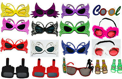Fancy Dress Novelty Sun Glasses Butterfly Cat Women Cool  Beer Stag Hen Do Party
