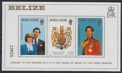 Belize 1981 Lady Di u. Prinz Charles Block **, Royal Wedding, postfrisch, MNH