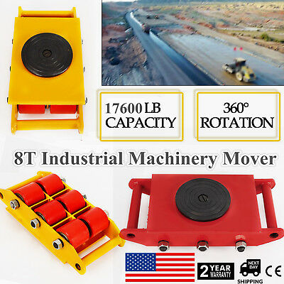 8T Industrial Machinery Mover w/ 360°Rotation Cap 17,600Lb Dolly Skate 6-Rollers