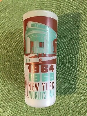 Vintage 1964 1965 New York World's Fair Frosted Glass w/ Port Authority Building