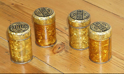 Spice tins / containers, set of 4 Antique / Vintage, Decorative kitchenware,