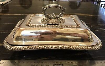 Antique Crested Old Sheffield Silver Plate Entree Dish With Handled Cover