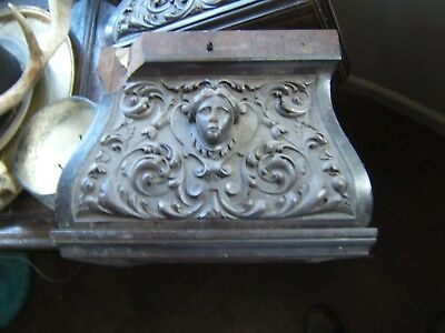 Antique 19th Century Pair  Carved Oak Victorian Angel Corbels Mouldings Church
