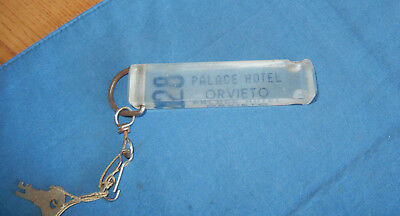 Vintage Orvieto Italy Hotel Room Key Fob 28 Palace Hotel Clear Lucite FREE SHIP