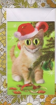 Funny Twisted Whiskers CAT - Santa Claws - Christmas Card