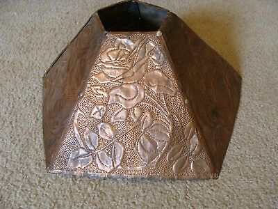 """Antique Hammered & Punched Copper Lamp Shade Arts & Crafts c1910s 5 Panel 16"""""""