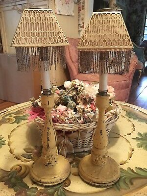 Pair Of Antique French Candlesticks Barbola Roses Beaded Fringe Lamp Shades #F