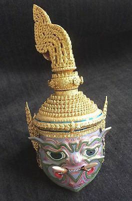 Thai Khon Mask with stand - Maiyarab, Demon Lord of the Underworld