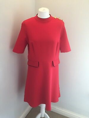 M&S Vintage Style 60's Mod Shift Dress Gold Button Detail Size 14 Red