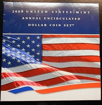 2008 United States Mint Annual Uncirculated Dollar Coin Set ~ Free Shipping