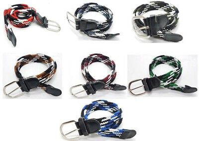 Webbing Design Woven Braided Elastic Stretchy Belts Real Leather Trim Unisex