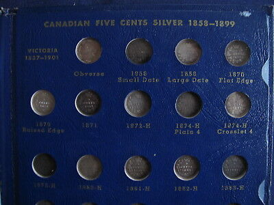 1858-1920 Canada Victoria Five Cents Silver Complete Set of 53 Coins P2597
