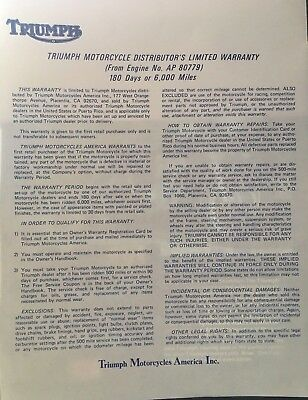 Triumph Warranty Bullitins beginning with engine #AP 80779