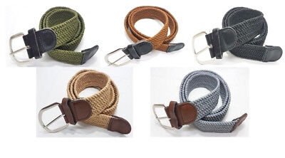Webbing Design Woven Braided Elastic Stretchy Belts Real Leather Trim Unisex UK