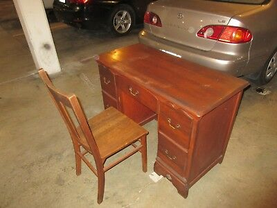 small antique desk with chair