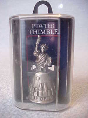Pewter Thimble Statue of Liberty with Box, Made in USA