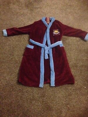 Kids Official West Ham Fc Hooded Fleece Dressing Gown Bath Robe Age