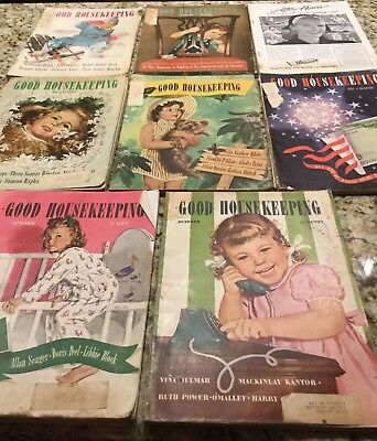 Lot Of 8 Vintage 1944 GOOD HOUSEKEEPING Magazines