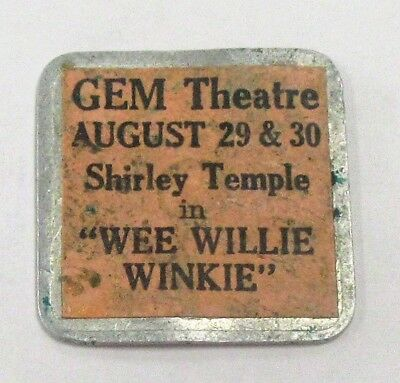 RARE 1937 Shirley Temple in Wee Willie Winkie Advertising Sticker on Token