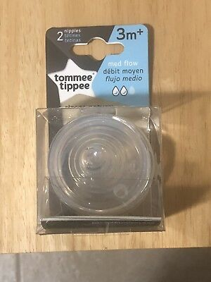 Tommee Tippee Closer To Nature Nipples Medium Flow 2 Count NEW 3M 3 Months