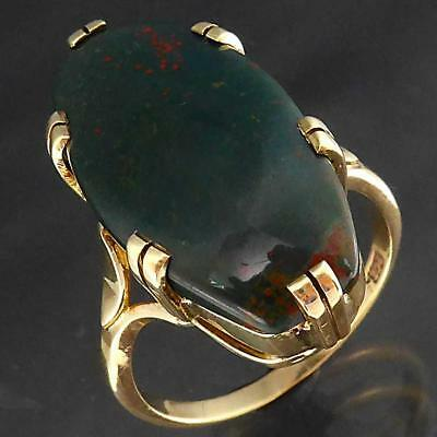 Large Vintage 1950's Solid 9k Yellow GOLD BLOODSTONE COCKTAIL CABOCHON RING Sz S