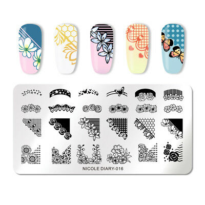 NICOLE DIARY Nail Stamping Plates Flower Series Rectangle Nail Art Manicure