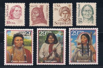 Native American Indians - 7 U.s. Stamps - Sitting Bull, Crazy Horse, Geronimo +