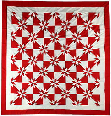 Red and White Star Feild QUILT TOP - Patchwork graphic creations - Must See